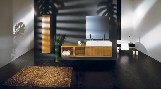 Image of bathroom designed by Lacava who specialise architecture, daylighting, floor, flooring, furniture, interior design, product design, black