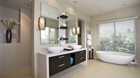 View of light-toned contemporary bathroom with white free bathroom, floor, home, interior design, property, real estate, room, sink, gray