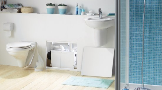 View of a bathroom which features Saniflo pumps. bathroom, bathroom accessory, bathroom cabinet, bathroom sink, ceramic, floor, interior design, plumbing fixture, product, product design, room, shelf, sink, tap, tile, toilet seat, wall, white