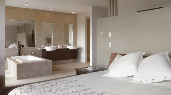 View of an ensuite that features Scyon Secura architecture, bed frame, bedroom, floor, flooring, home, interior design, property, real estate, room, suite, wall, gray
