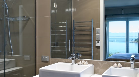 View of a bathroom with vanity and shower bathroom, bathroom accessory, interior design, sink, gray, black