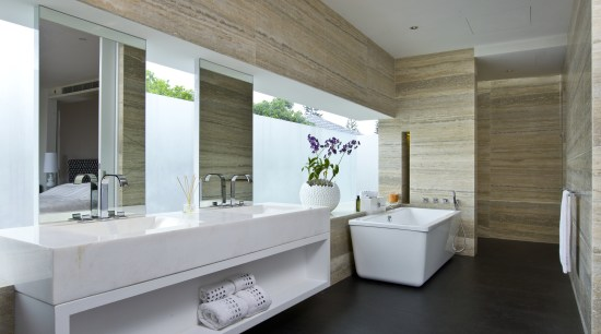 Interior view of ensuite by Ong & Ong architecture, bathroom, floor, flooring, interior design, real estate, gray