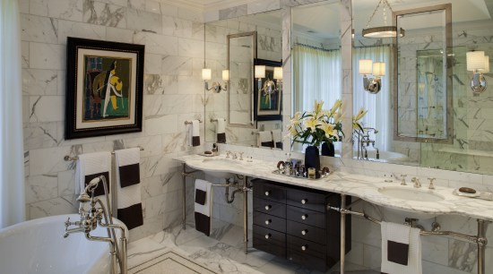 View of a luxury bathroom which features marble bathroom, countertop, home, interior design, room, gray