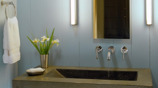 View of a vanity with large integrated basin, bathroom, countertop, interior design, room, sink, gray
