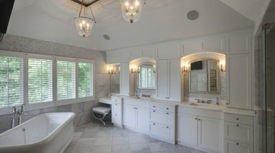 View of a Roman-styled bathroom which features a bathroom, ceiling, countertop, estate, floor, home, interior design, property, real estate, room, window, gray