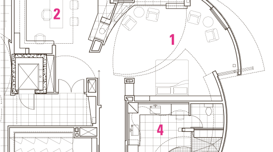 View of the master suite, bed, fireplace, recessed architecture, area, artwork, design, diagram, drawing, floor plan, line, line art, plan, product, product design, technical drawing, white