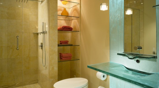 View of the remodeled bathroom by Jim Meloy bathroom, bathroom accessory, floor, home, interior design, plumbing fixture, property, room, brown, orange