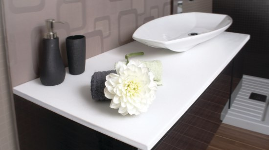 View of a bathroom with a vanity from bathroom, ceramic, furniture, plumbing fixture, product design, sink, table, tap, black, gray