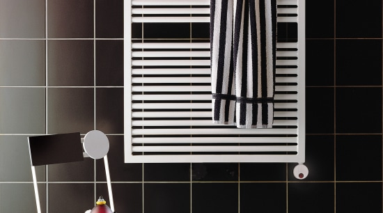 View of a bathroom which features a towel black, floor, flooring, furniture, interior design, line, product, product design, shelf, shelving, tile, wall, window, black