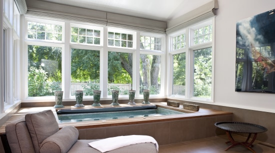 View of the spa area which features a daylighting, estate, home, interior design, living room, property, real estate, room, window, white