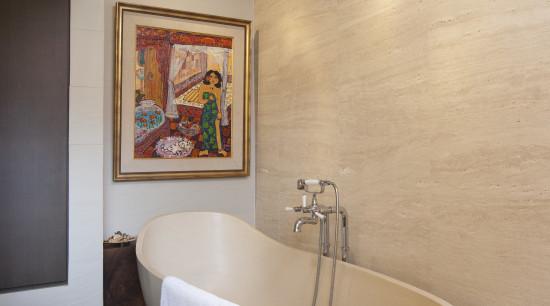 Contemporay bathroom in this Singapore house architecture, bathroom, ceiling, floor, flooring, interior design, plumbing fixture, room, sink, wall, orange, gray