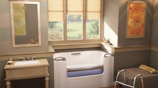 View of a bathroom which features a high-end bathroom, floor, interior design, room, window, brown, orange