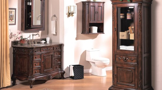 View of a traditional-styled bathroom which features bathroom bathroom accessory, bathroom cabinet, cabinetry, chest of drawers, china cabinet, display case, drawer, furniture, hardwood, shelving, white