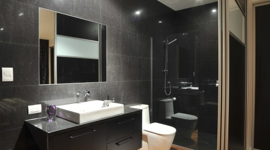 Contemporary bathroom with pre-finished decorative panel 'Formica Melteca' architecture, bathroom, ceiling, countertop, floor, flooring, hardwood, interior design, laminate flooring, living room, room, wood flooring, black, gray