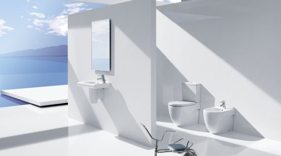 View of the bright white bathroom with Meridian angle, architecture, interior design, product, product design, table, tap, white