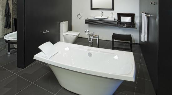 View of bathroom suites. bathroom, bathroom sink, bathtub, floor, interior design, plumbing fixture, product design, room, sink, black, gray