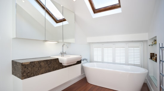 View of this remodeled contemporary bathroom architecture, bathroom, daylighting, floor, home, house, interior design, real estate, room, sink, white