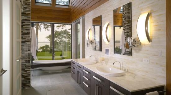 View of contemporary interior with distinctive tile wall bathroom, countertop, estate, home, interior design, real estate, room, window, gray, brown