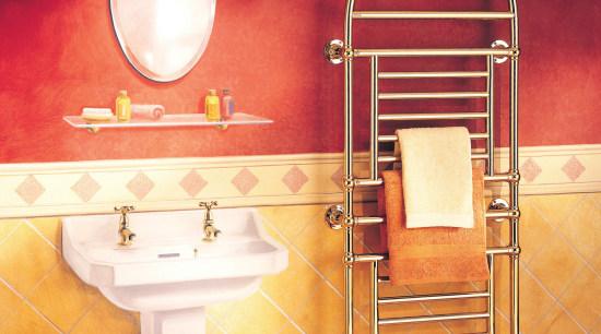 View of the bathroomware by Myson Inc bathroom, floor, flooring, interior design, lighting, orange, product design, room, tile, wall, red, orange