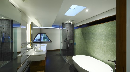 View of contemporary bathroom with white oval bath architecture, bathroom, ceiling, daylighting, house, interior design, room, black, gray