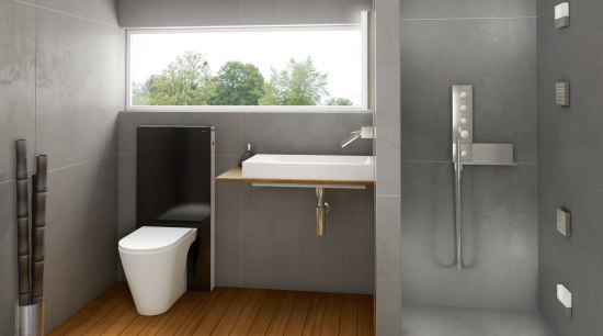 View of Geberit bathroom features. bathroom, bathroom accessory, floor, interior design, plumbing fixture, product design, sink, gray