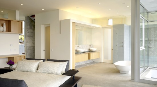 View of contemporary suite with bedroom and bathroom architecture, ceiling, floor, flooring, home, interior design, living room, property, real estate, room, wall, window, gray