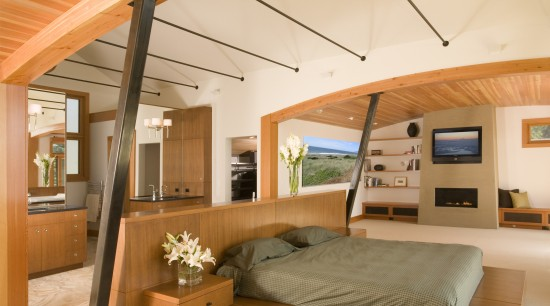 View of a remodeled house with timber ceilings architecture, ceiling, interior design, real estate, room, suite, orange, brown