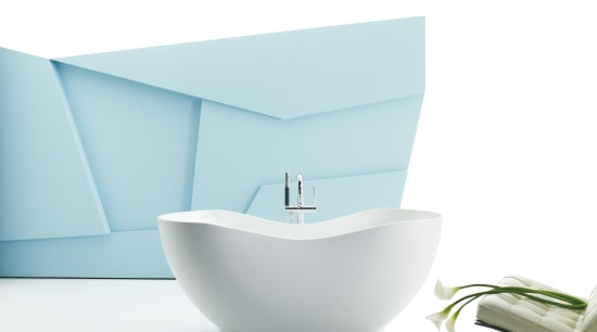View of contemporary, free-standing bathtub plumbing fixture, product, product design, tableware, tap, toilet seat, white