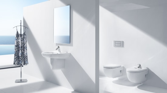 View of contemporary bathrooms. angle, bathroom, bathroom accessory, bathroom sink, bidet, interior design, plumbing fixture, product, product design, sink, tap, toilet seat, white