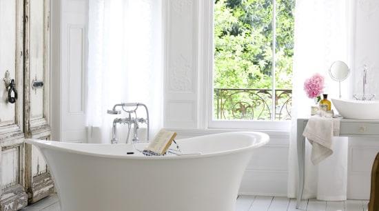View of bathroom products by Yellow Fox. bathroom, bathtub, ceramic, curtain, floor, flooring, home, interior design, plumbing fixture, room, tap, tile, window, window treatment, white