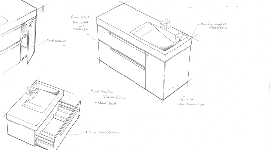 View of bathroom products by Yellow Fox. angle, automotive design, black and white, design, diagram, drawing, furniture, line, product, product design, sketch, structure, table, white