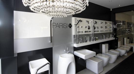 View of contemporary bathroom fixtures. ceiling, interior design, light fixture, lighting, product design, black, white