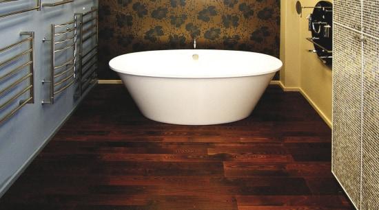 View of contemporary bathroom fixtures. bathroom, ceiling, floor, flooring, hardwood, interior design, laminate flooring, room, tile, wall, wood, wood flooring, red