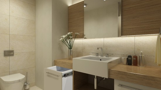 View of hideaway bins from Kitchen King. bathroom, bathroom accessory, floor, interior design, plumbing fixture, product design, room, sink, tile, brown, orange