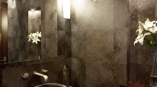 Brown bathroom with contemporary basin. architecture, bathroom, ceiling, home, interior design, room, wall, brown, black