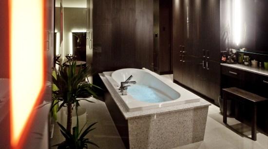 View of contemporary bathroom with dark cabinets bathroom, interior design, room, brown