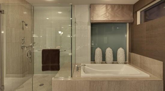 This master suite was designed by the Gary bathroom, floor, interior design, plumbing fixture, room, tile, brown