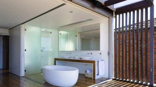 Bathroom opening onto deck, with contemporary free standing architecture, daylighting, estate, house, interior design, real estate, room, gray