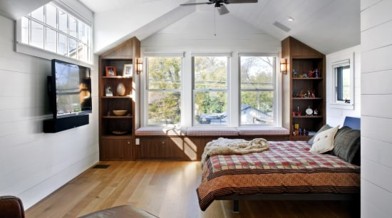 View of bedroom with wooden floor, bed with bedroom, ceiling, floor, home, house, interior design, living room, real estate, room, wall, window, gray, white