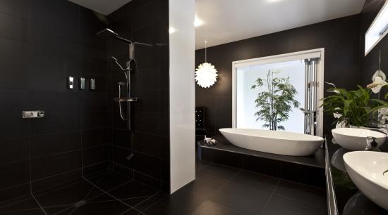 Bathroom with black wall and floor tiles, white architecture, bathroom, floor, home, interior design, room, black