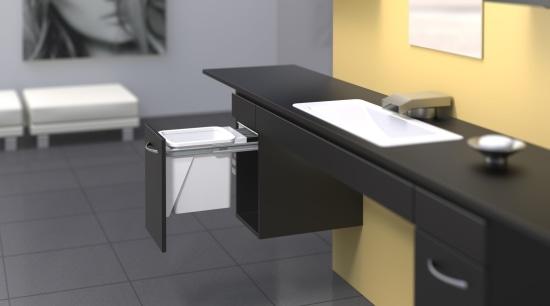 Hideaway Bins, sliding drawers, replaceable drawer liners, hidden desk, floor, flooring, furniture, interior design, office, product, product design, table, gray, black