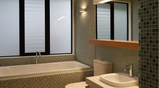 Bathroom with tile mosaic wall and light toned architecture, bathroom, ceiling, daylighting, home, interior design, real estate, room, sink, window, brown