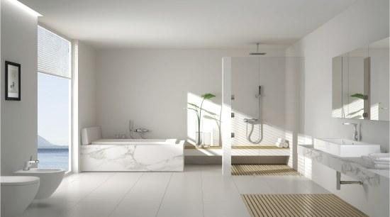 White bathroom with marble bath. architecture, bathroom, bathroom accessory, floor, home, interior design, plumbing fixture, product design, room, sink, tap, tile, gray
