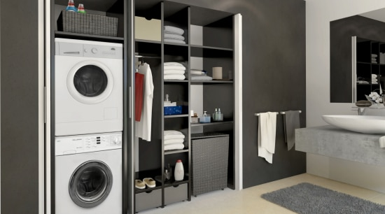 washer dryer combo, Häfele doors open clothes dryer, home appliance, laundry, laundry room, major appliance, product design, washing machine, gray, black