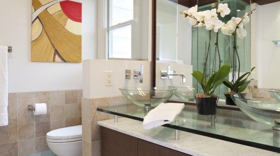 environmentally friendly composite veneer on the vanity front, bathroom, bathroom accessory, bathroom cabinet, cabinetry, countertop, home, interior design, kitchen, room, sink, gray