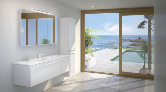 Bathroomware from St Michael Bathroomware. bathroom, door, estate, floor, home, interior design, property, real estate, room, window, gray