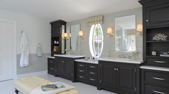 A 14ft-long double vanity with hard-wearing counters offers cabinetry, countertop, furniture, interior design, kitchen, room, gray, black