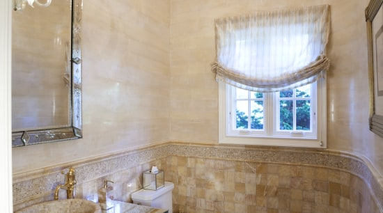 Golden onyx tiles, albeit in a variety of architecture, bathroom, ceiling, daylighting, estate, floor, flooring, home, interior design, real estate, room, wall, gray