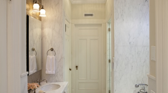 Pale white with a subtle gray veining, Calacatta bathroom, ceiling, daylighting, estate, floor, flooring, home, interior design, lighting, property, real estate, room, tile, gray