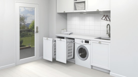 Two hideaway laundry bins side by side allow clothes dryer, home appliance, kitchen, laundry, laundry room, major appliance, product, product design, room, washing machine, white